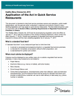 Healthy Menu Choices Act, 2015 – Application of the Act in Quick Service Restaurants