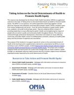 Taking Action on the Social Determinants of Health to Promote Health Equity