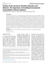 Position of the Society for Nutrition Education and Behavior: The Importance of Including Environmental Sustainability in Dietary Guidance