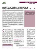 Position of the Academy of Nutrition and Dietetics: Benchmarks for Nutrition in Child Care
