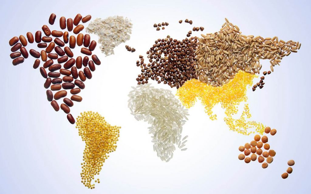 World map made of grains
