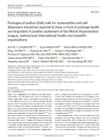 Packages of sodium (salt) sold for consumption and salt dispensers should be required to have a front of package health warning label: A position statement of the World Hypertension League, national and international health and scientific organizations