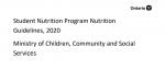 Student Nutrition Program Nutrition Guidelines, 2020